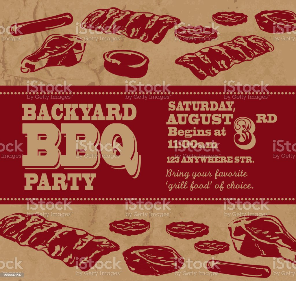 Backyard BBQ themed invitation template with red text vector art illustration