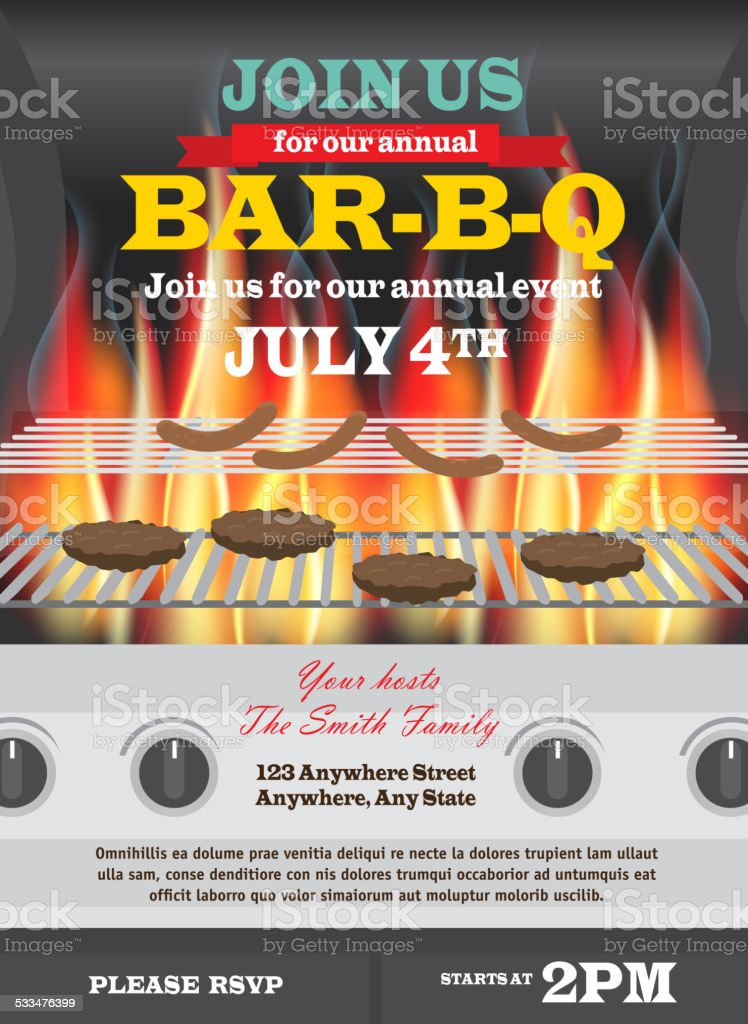 Backyard BBQ with open lid and flames invitation design template vector art illustration