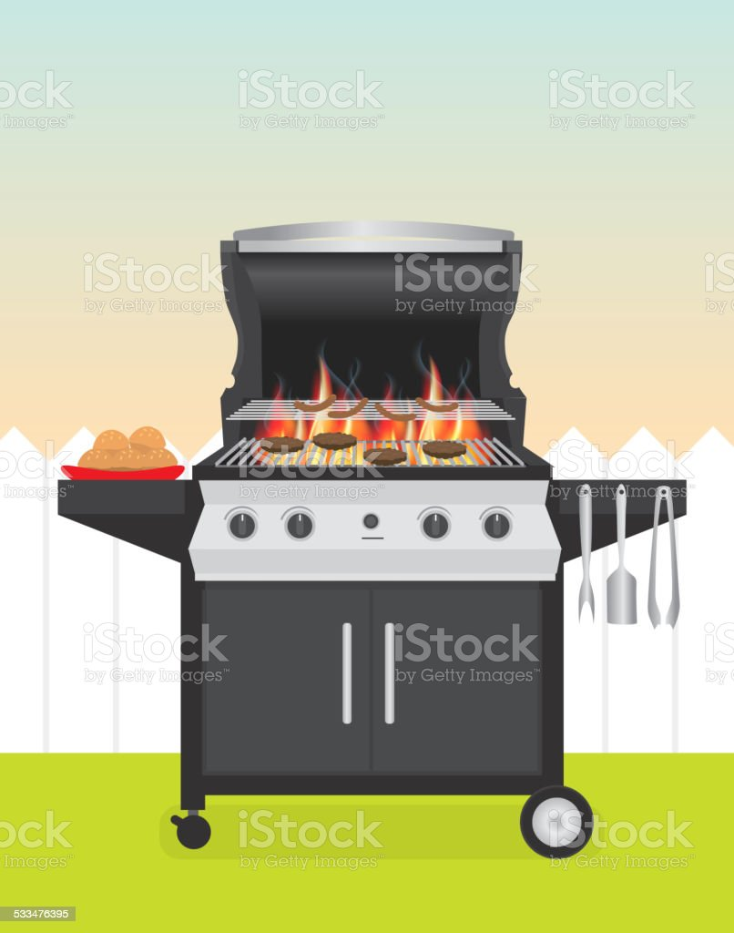 Backyard BBQ with open lid in backyard setting vector art illustration