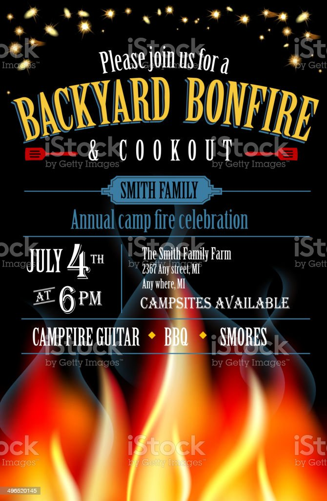 Backyard Bonfire and cookout invitation design template vector art illustration
