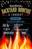 Backyard Bonfire and cookout invitation design template