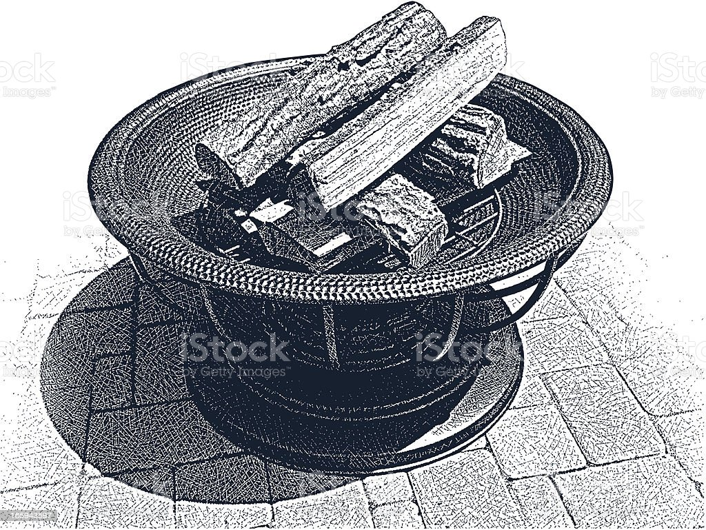 Backyard Fire Pit vector art illustration