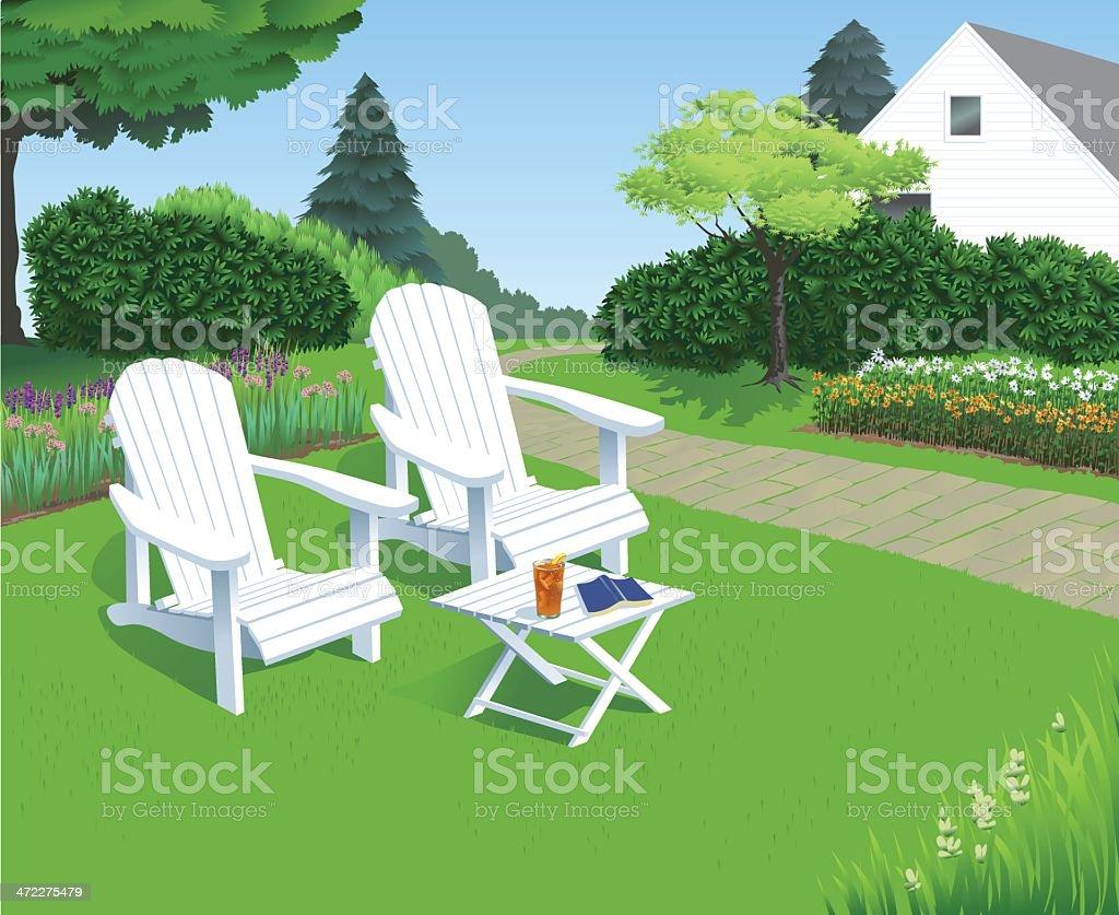 Backyard Garden Chairs vector art illustration
