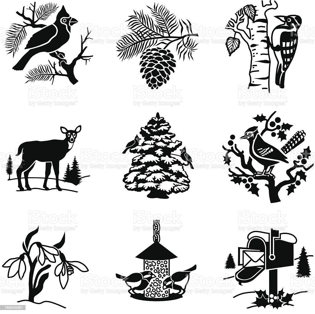 backyard in winter icons vector art illustration