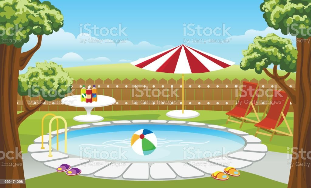 Backyard pool with fence and parasol vector art illustration