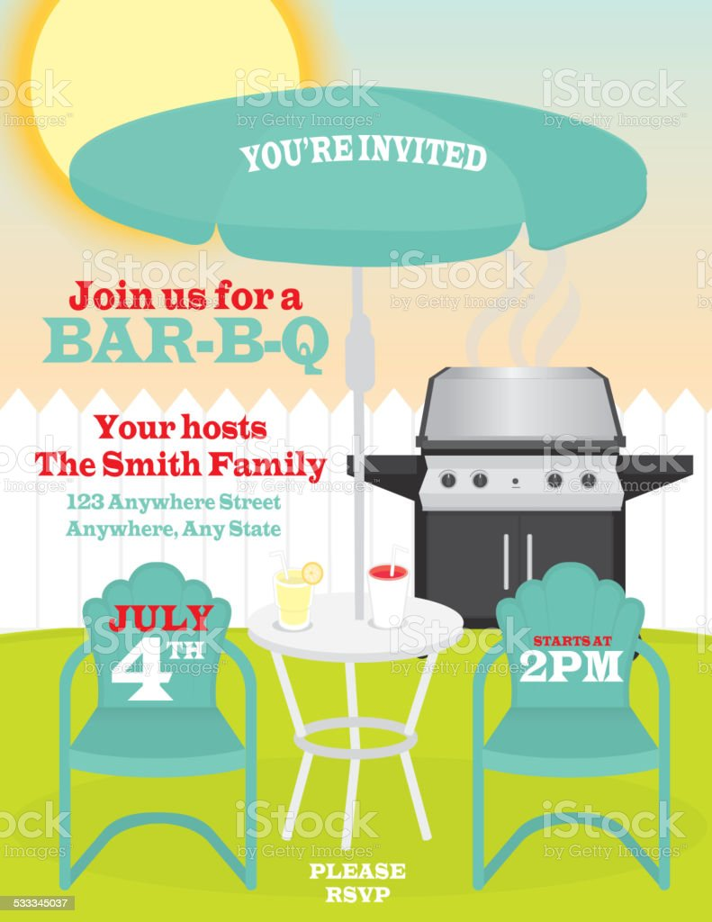Backyard summer celebration invitation design template vector art illustration