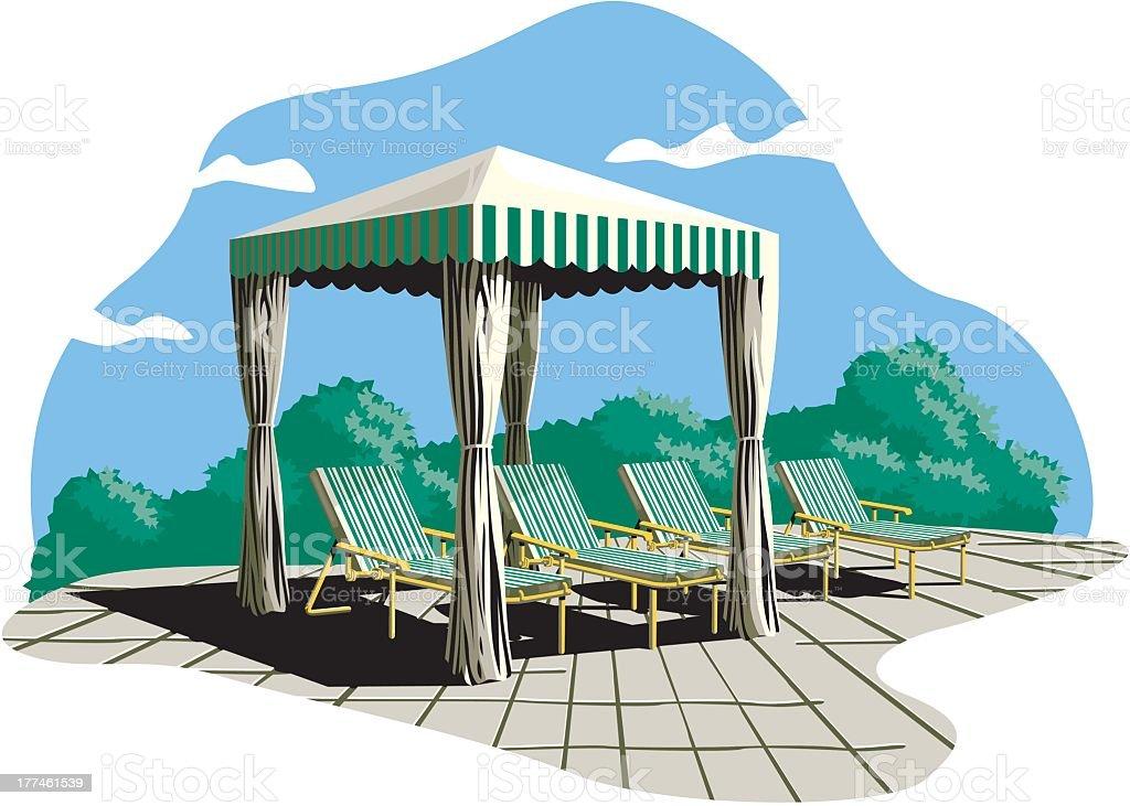 Backyard Sun Shade And Lounge Chairs vector art illustration