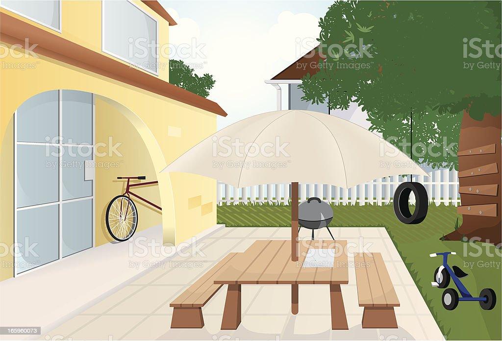 Backyard. vector art illustration