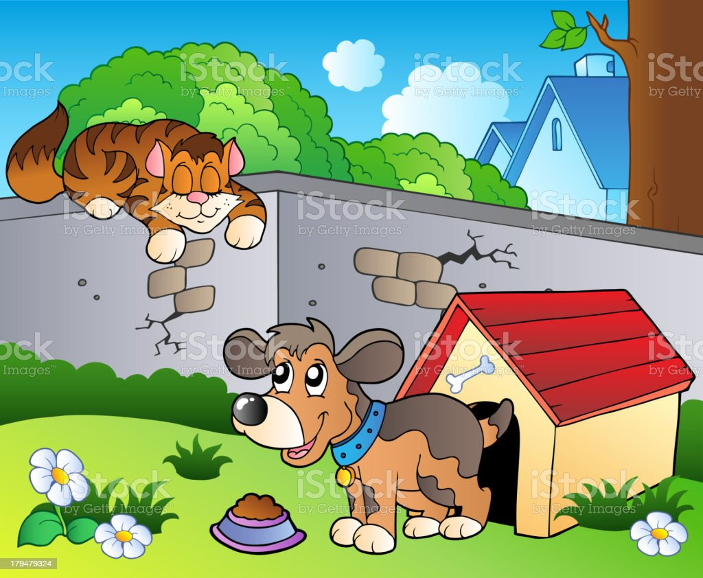 Backyard with cartoon cat and dog royalty-free stock vector art