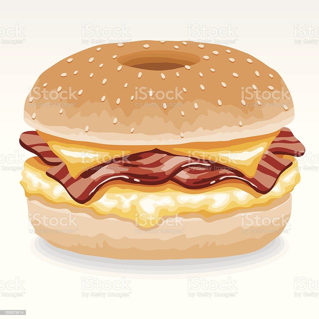 Bacon and Egg Breakfast Bagel vector art illustration