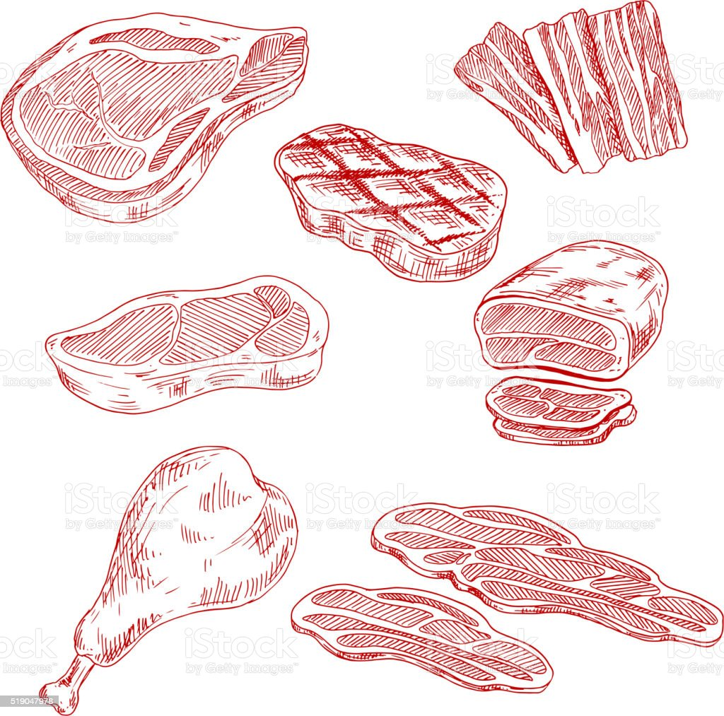 Bacon, beef, pork and chicken meat vector art illustration