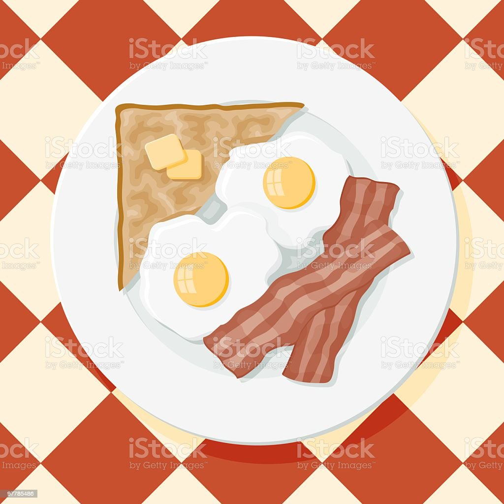 Bacon, Eggs and Toast vector art illustration