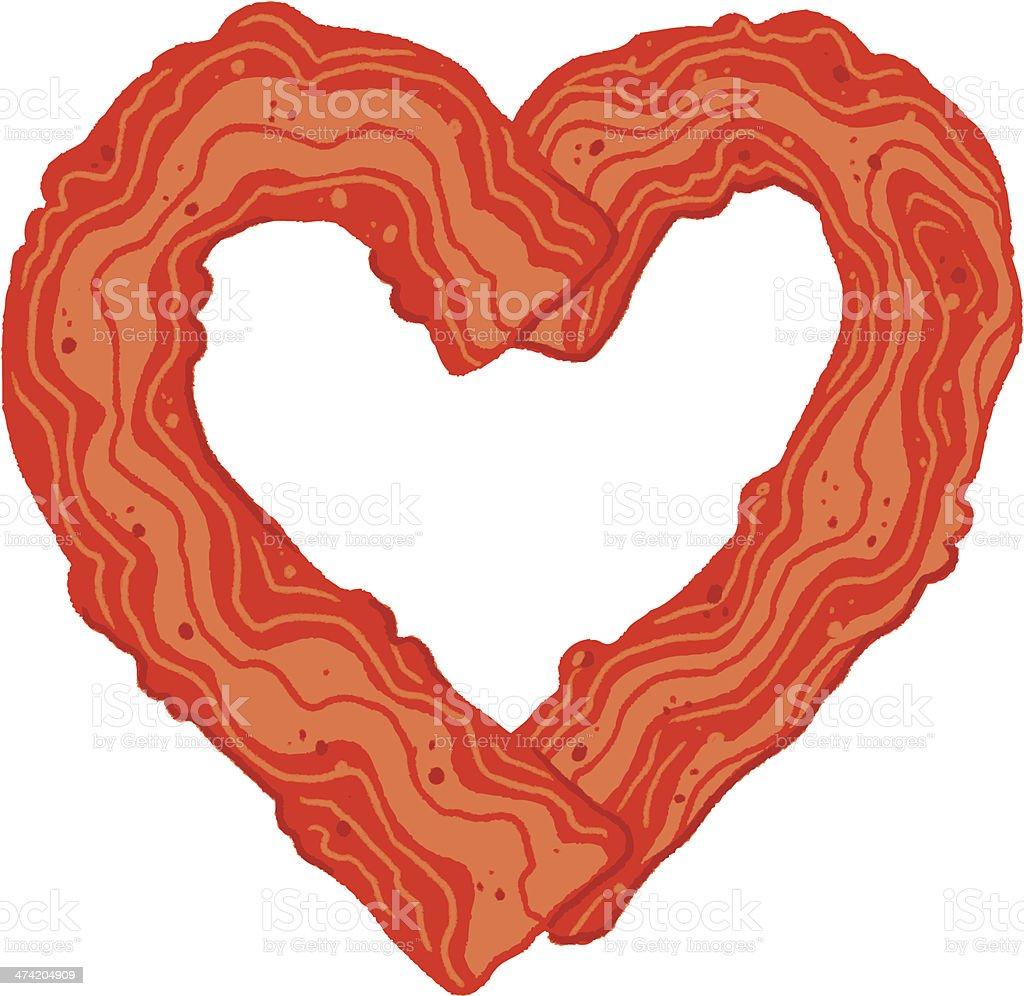 bacon heart vector art illustration