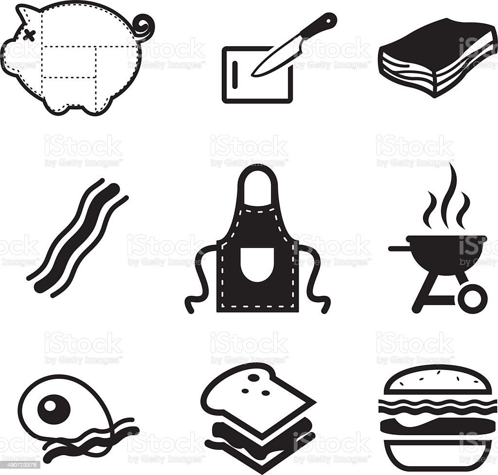 Bacon Icons vector art illustration