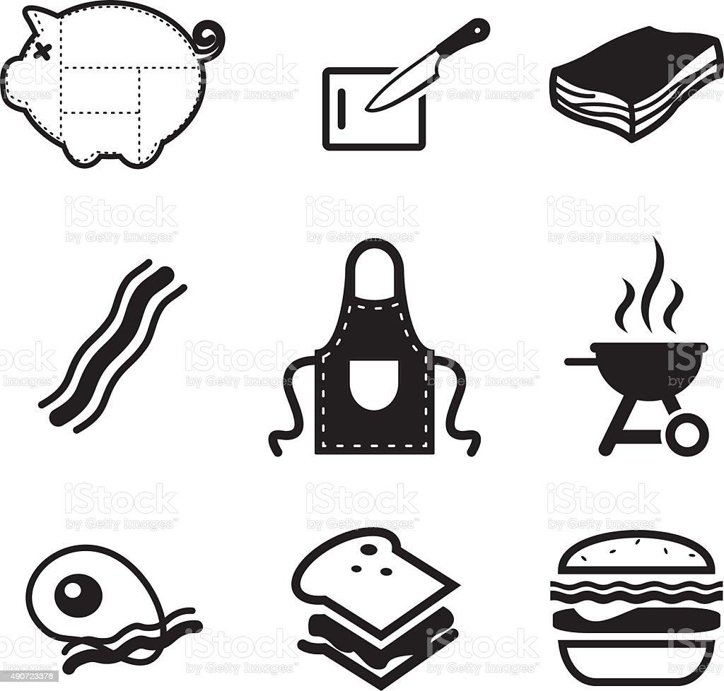 Bacon Icons vector art illustration
