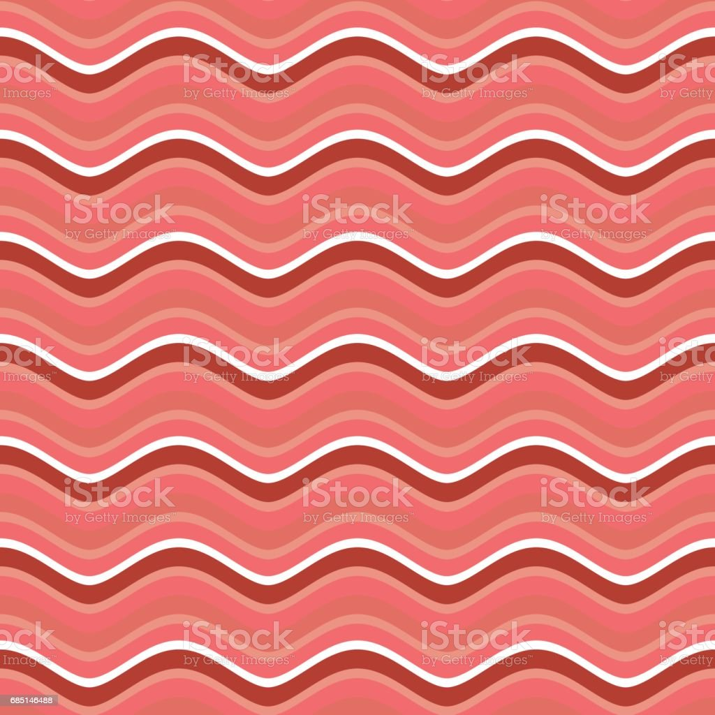 Bacon roasted seamless pattern. Thin piece of meat background. Pork texture. Food Ornament vector art illustration