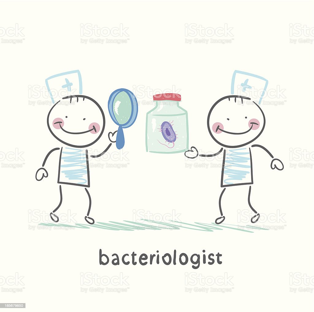bacteriologist looking through a magnifying glass royalty-free stock vector art