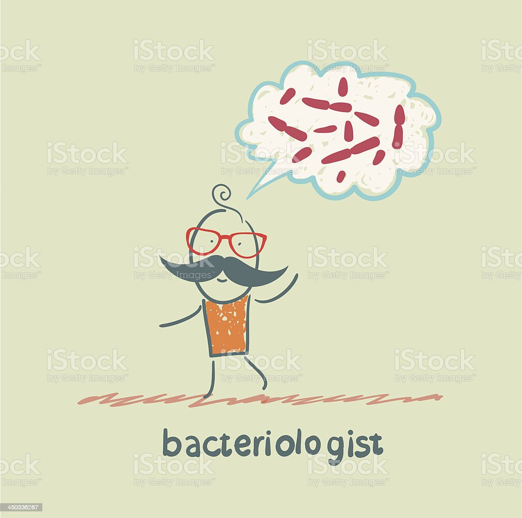 bacteriologist thinks about germs royalty-free stock vector art