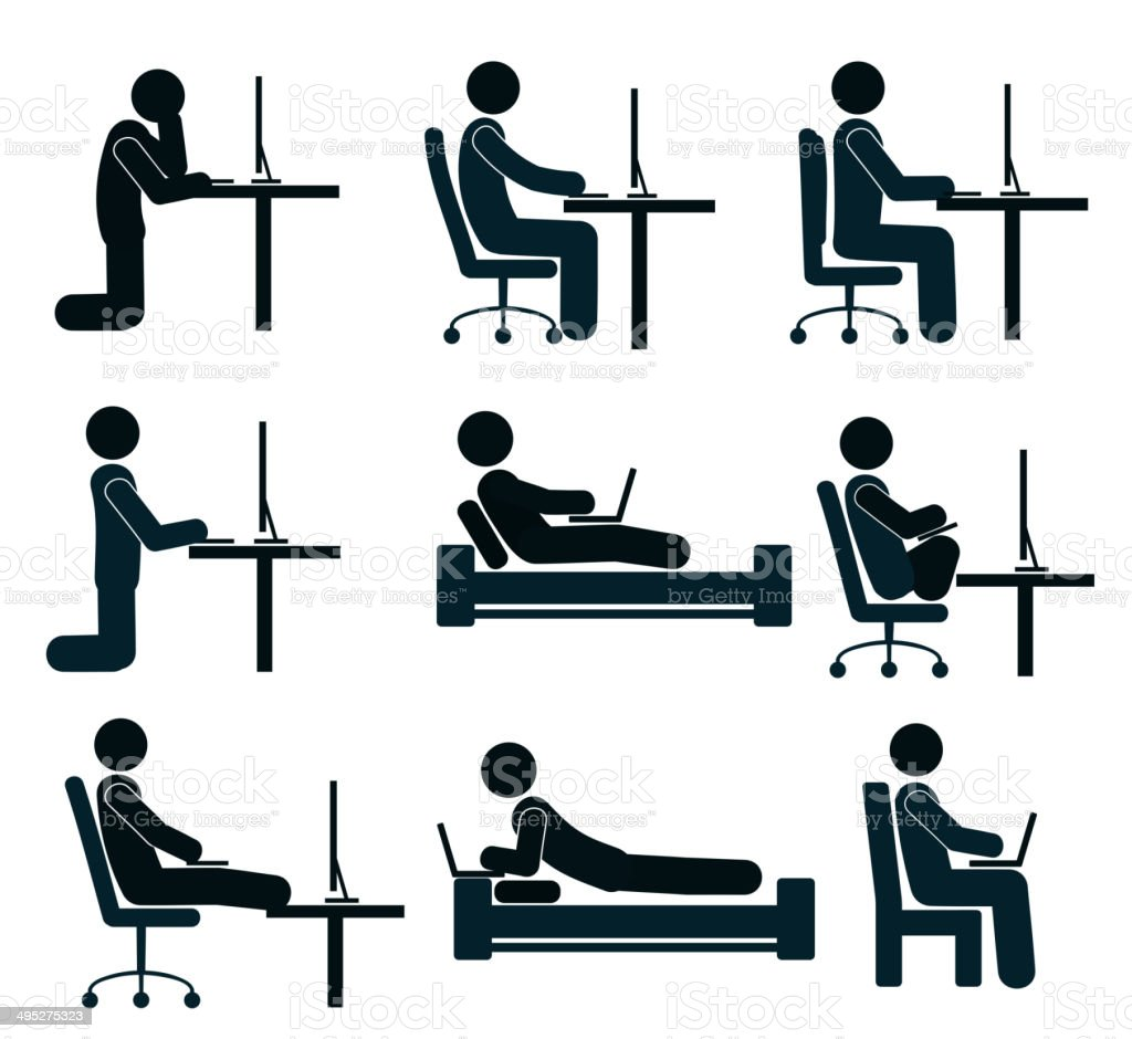 Bad and good working position of the human at the computer vector art illustration