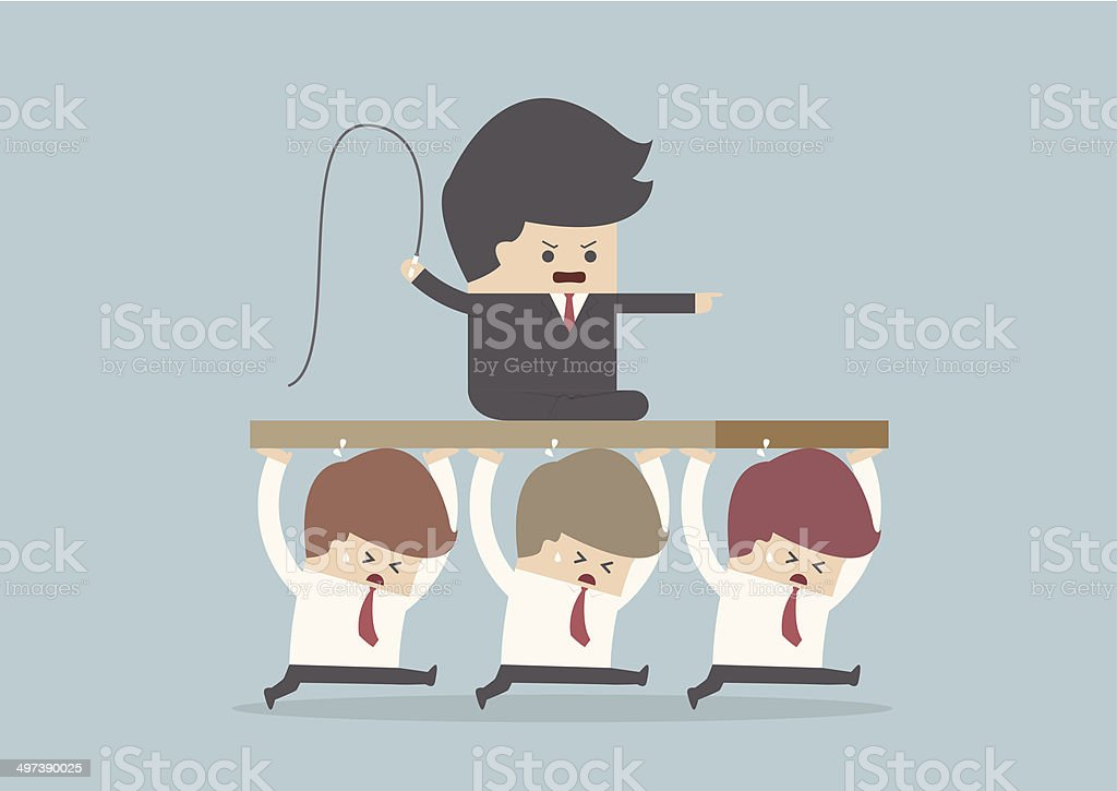 Bad Boss, Employee are carrying the leader vector art illustration