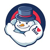Bad Boy Snowman Character Illustration
