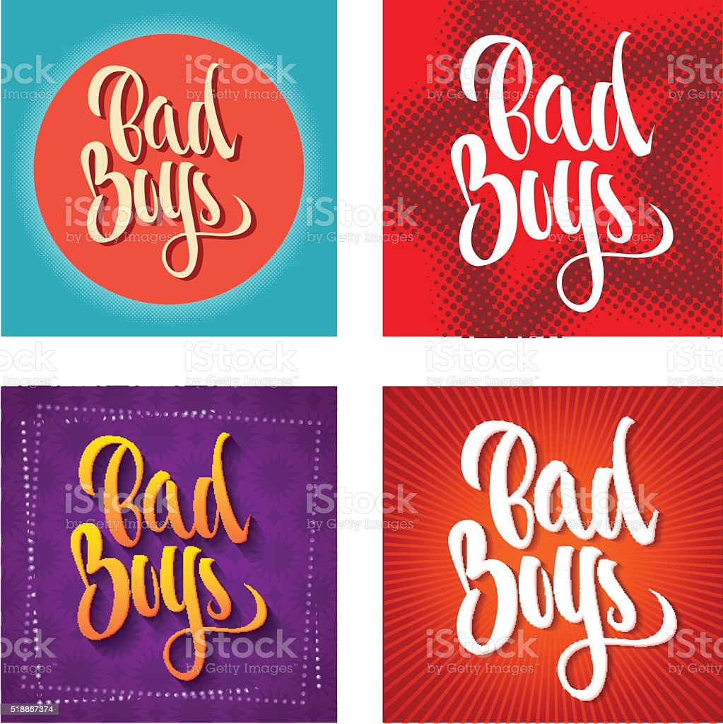 Bad Boys Inscription vector art illustration