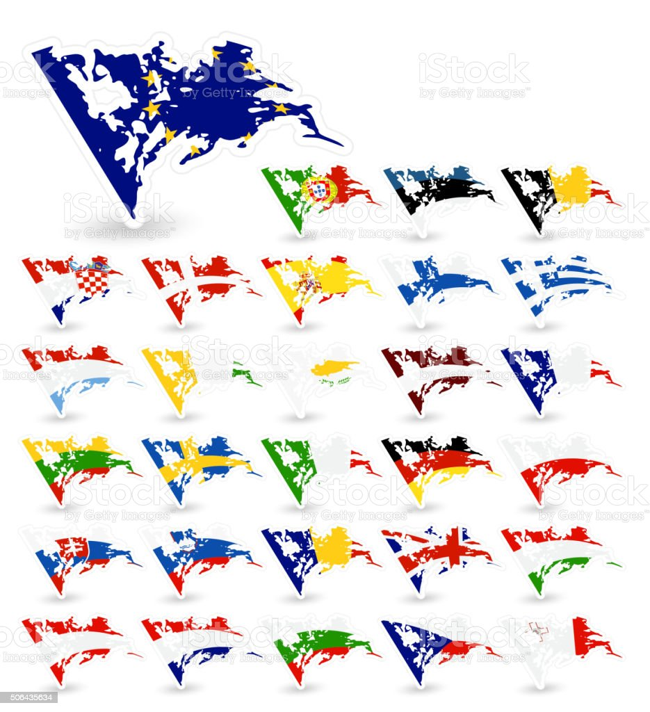 Bad condition flags of the European Union vector art illustration