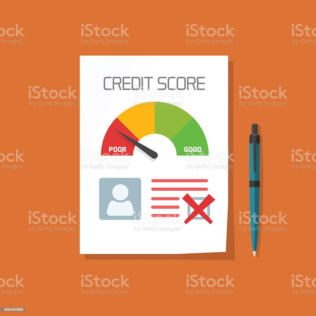 Bad credit score document with not approved stamp vector concept vector art illustration