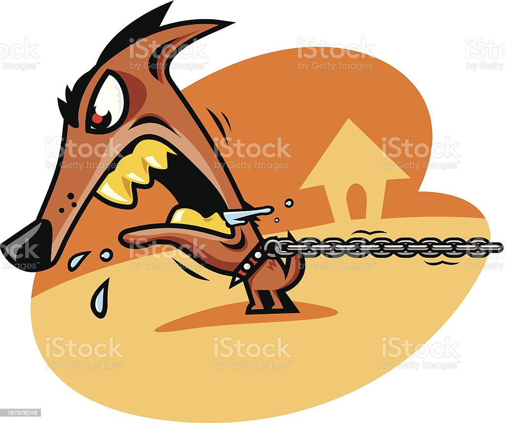 Bad dog chained royalty-free stock vector art