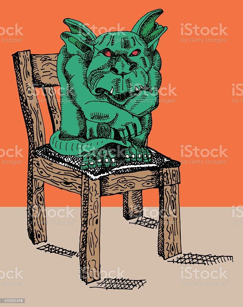 Bad Gargoyle vector art illustration