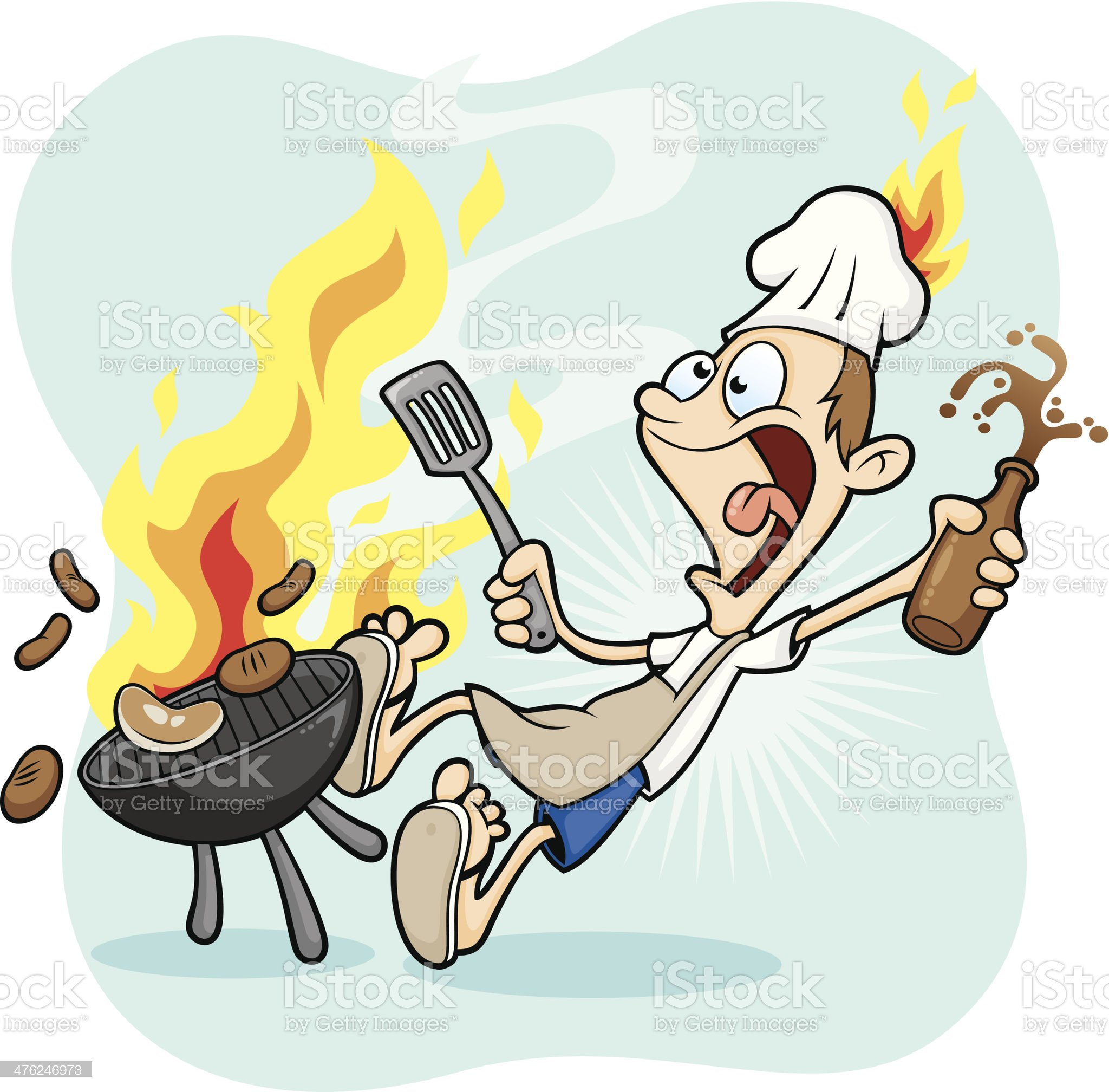 Bad Health and Safety - BBQ Beer Man on Fire royalty-free stock vector art