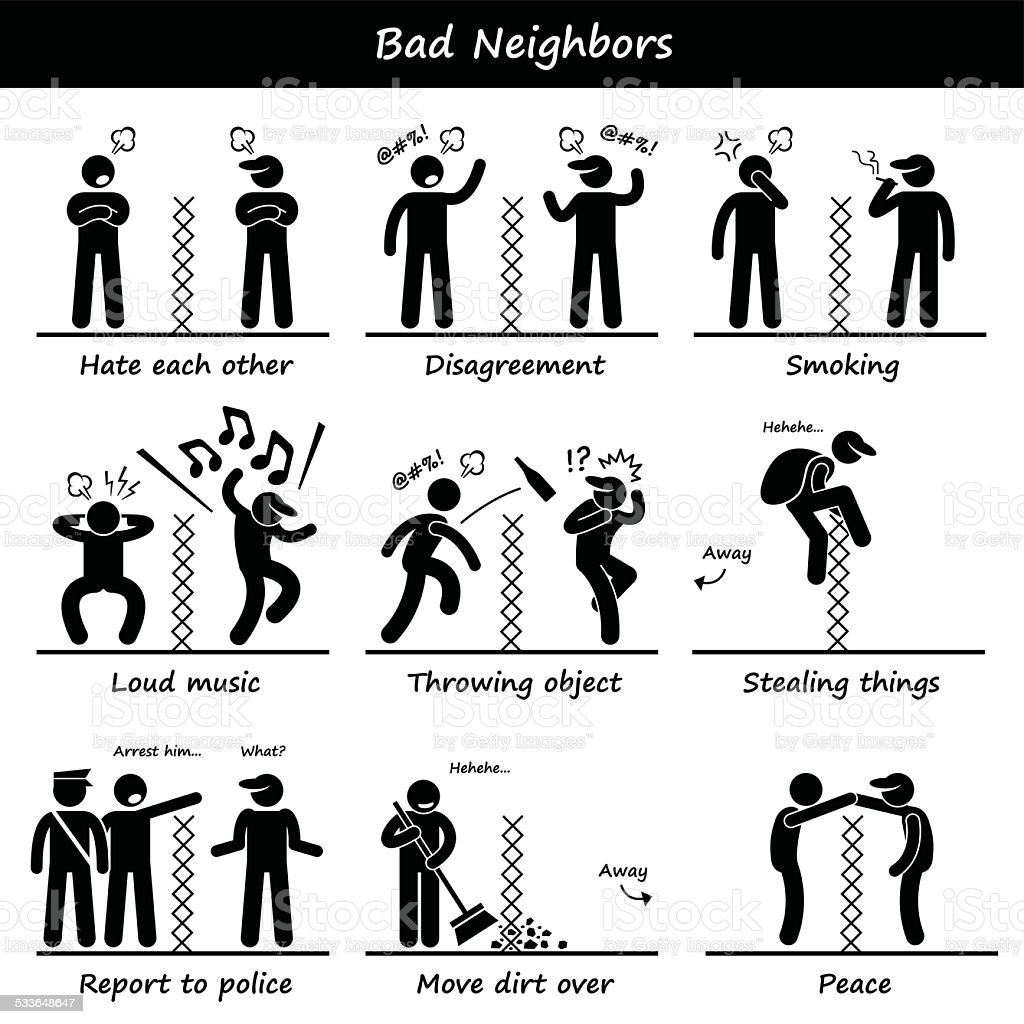 Bad Neighbors Stick Figure Pictogram Icons vector art illustration