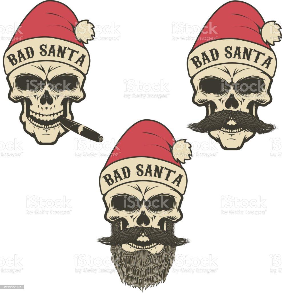 Bad santa. Set of skulls in Santa Claus hat vector art illustration