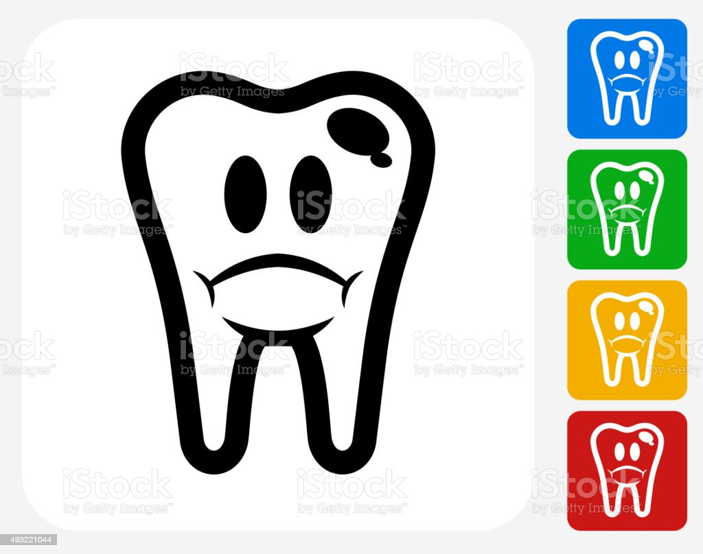 Bad Tooth Icon Flat Graphic Design vector art illustration