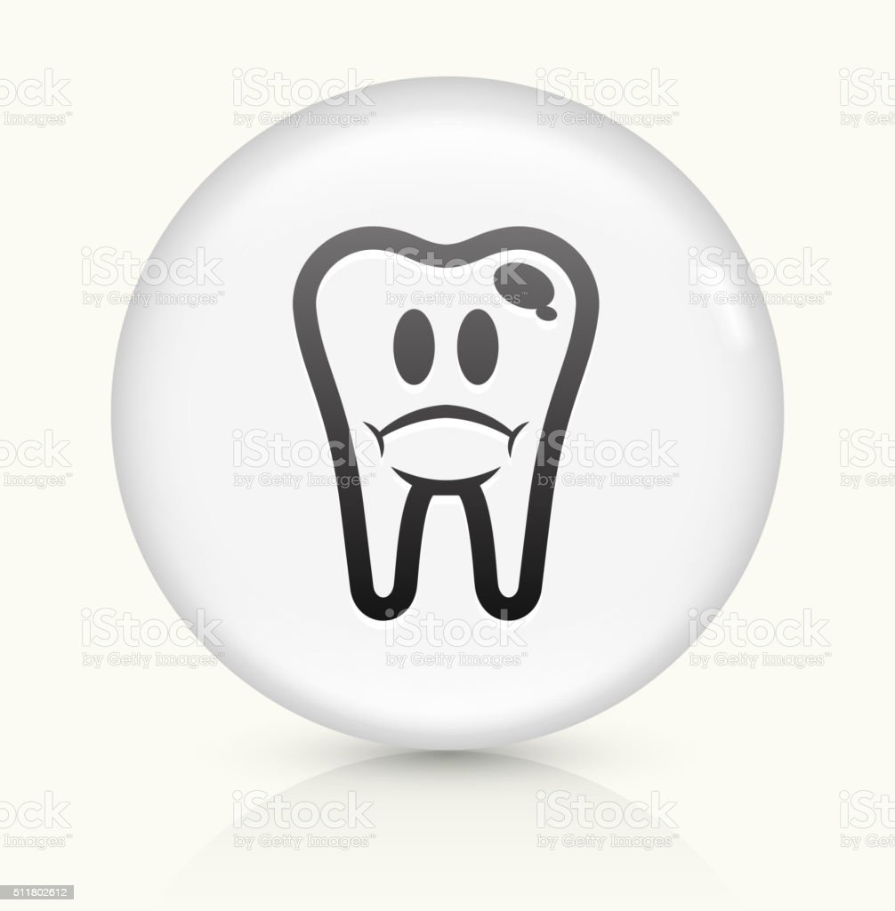 Bad Tooth icon on white round vector button vector art illustration