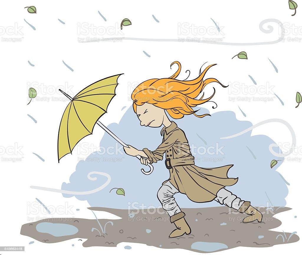 Bad weather vector art illustration
