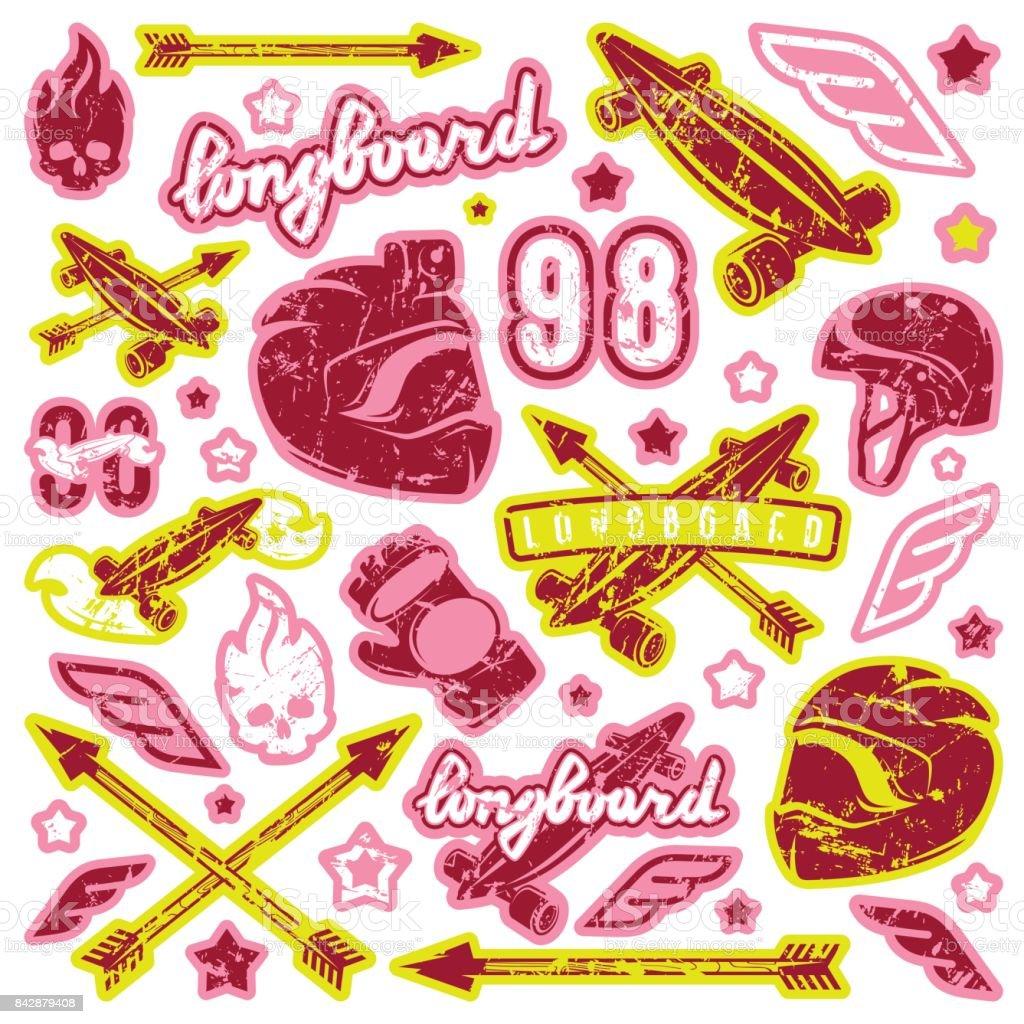 Badge set of longboarding equipment vector art illustration