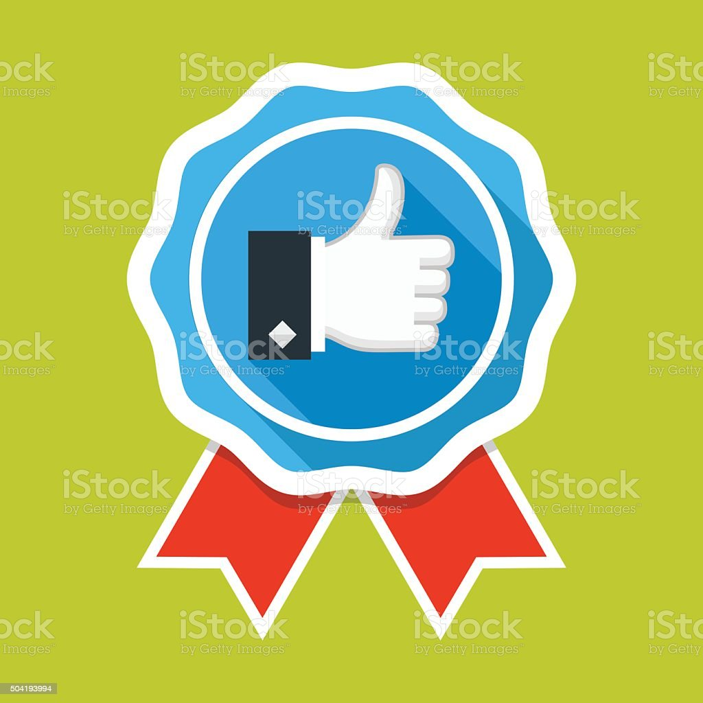 Badge with thumbs up icon vector art illustration