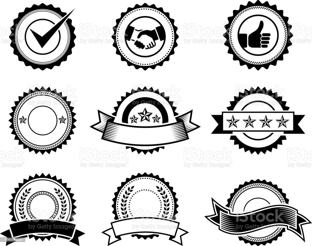 badges and seals black & white vector icon set royalty-free stock vector art