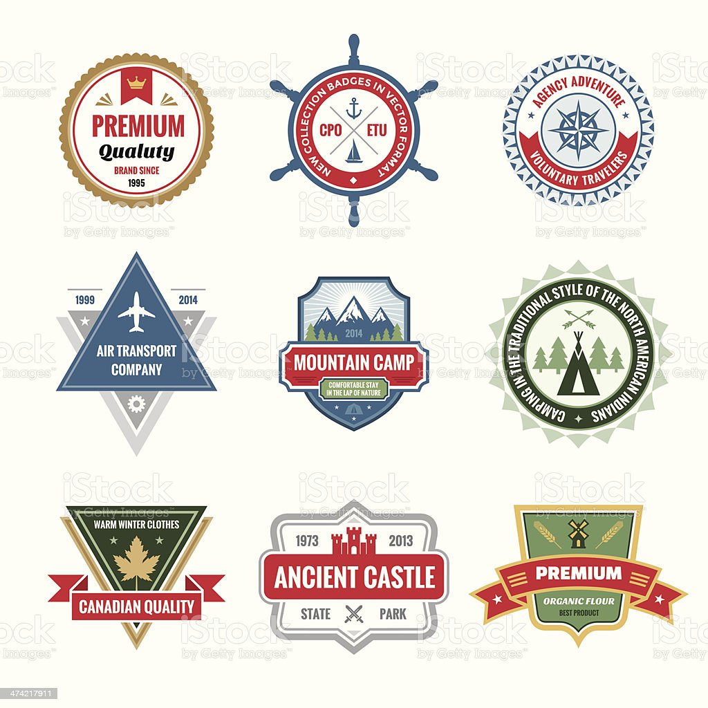 Badges Collection in Vector Format for Different Design Works vector art illustration