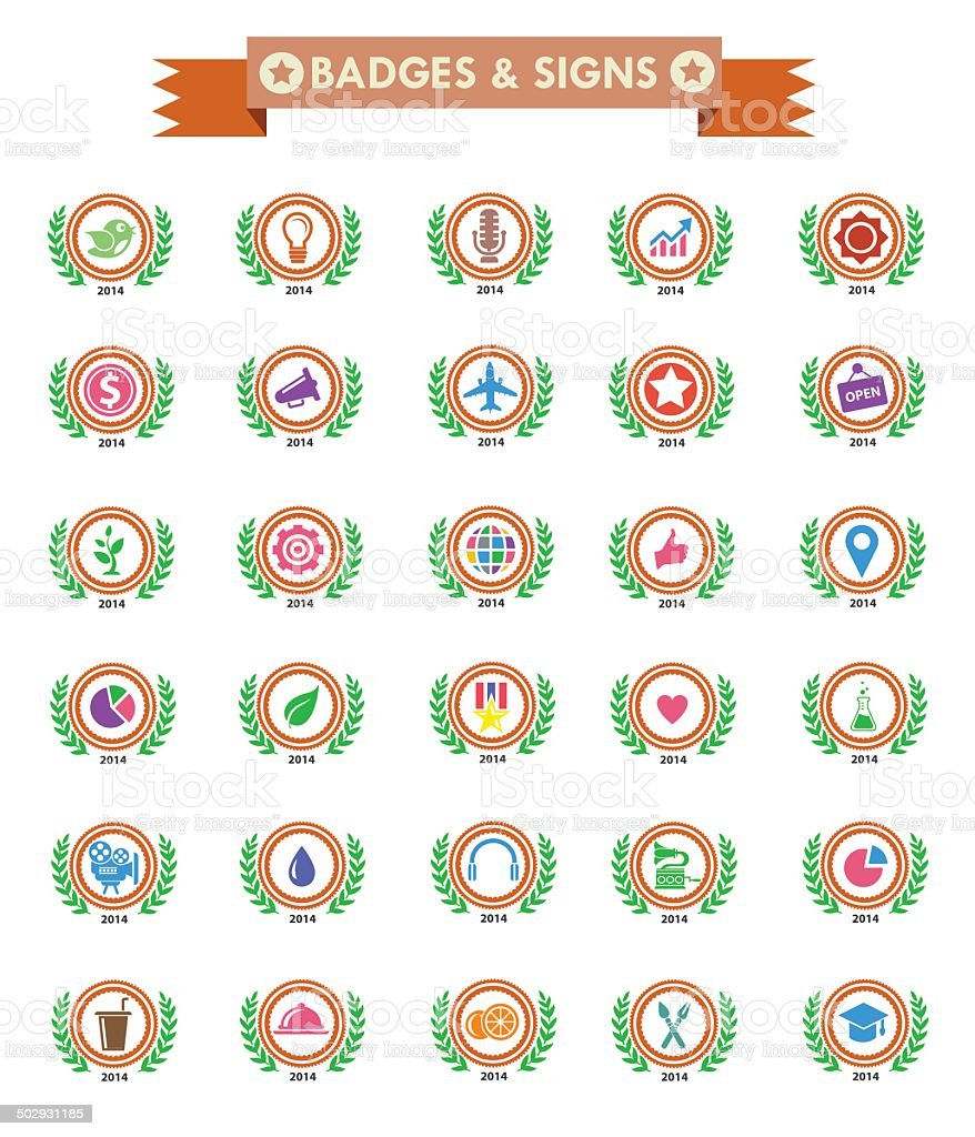 Badges & Sign,Collection of Premium Quality and Guarantee Labels royalty-free stock vector art