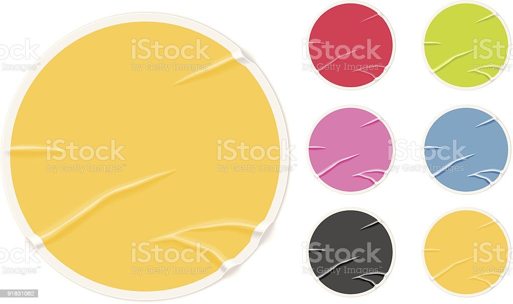 Badly glued old blank stickers royalty-free stock vector art