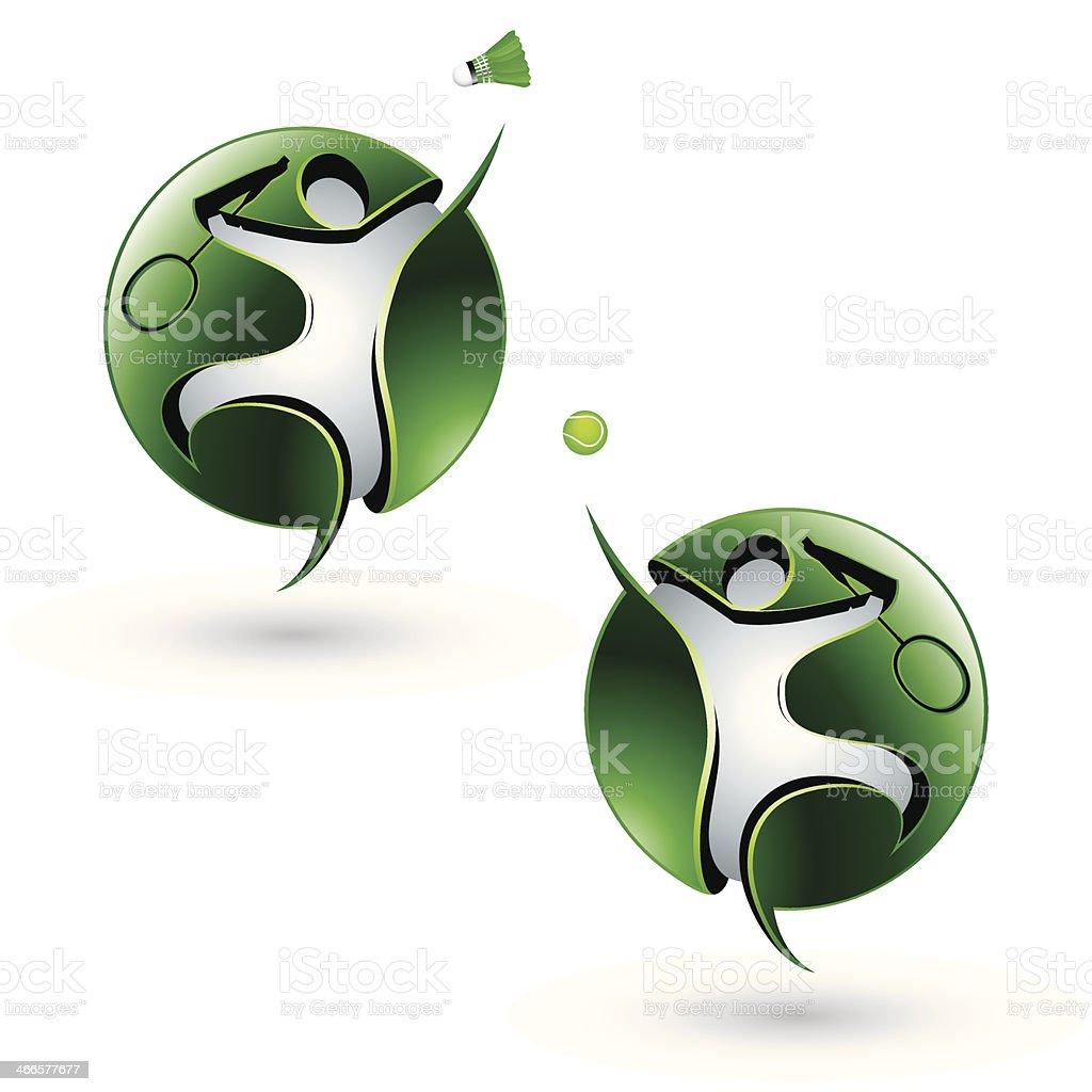 Badminton and tennis symbols vector art illustration