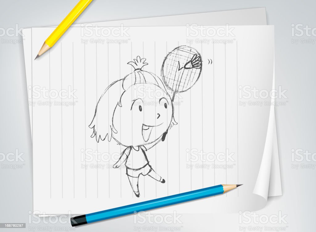 Badminton player sketch royalty-free stock vector art
