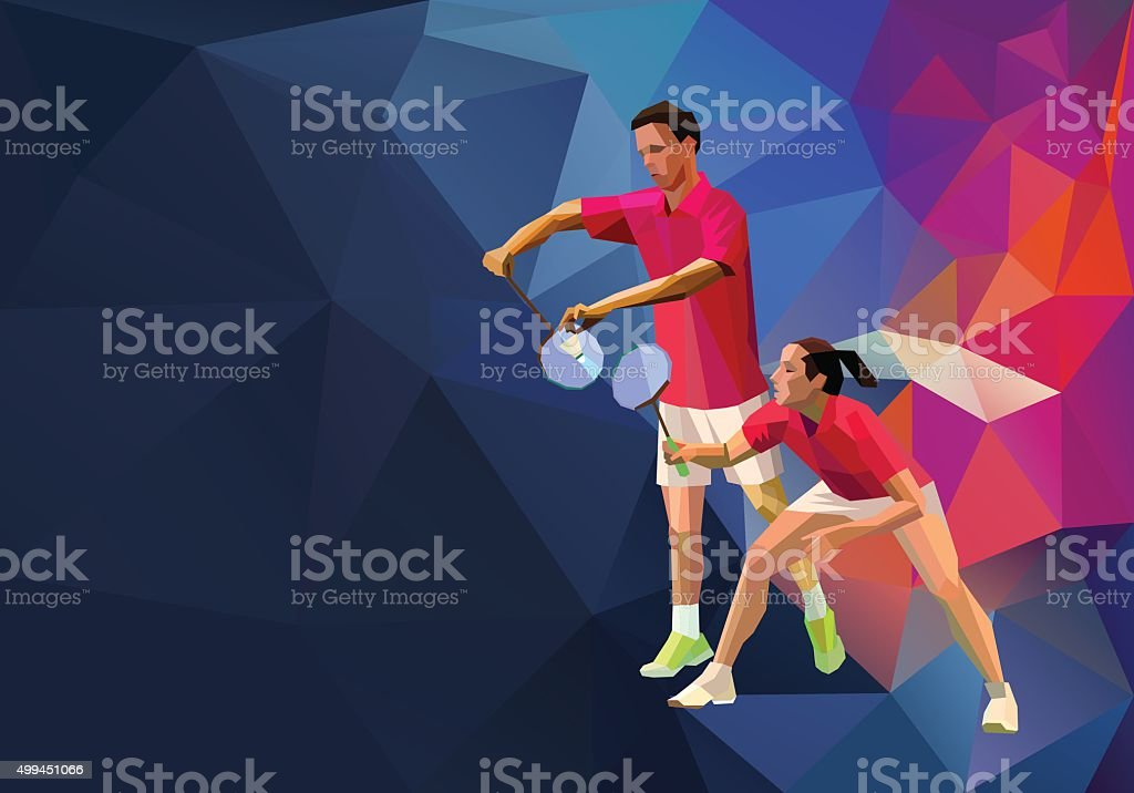 Badminton players mixed doubles team, man and woman vector art illustration