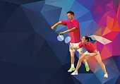Badminton players mixed doubles team, man and woman