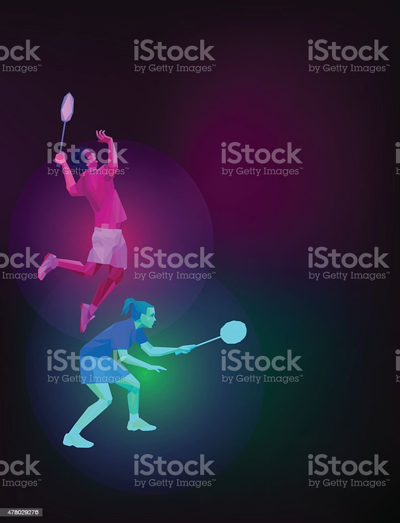 Badminton players mixed doubles team, man and woman, vector vector art illustration