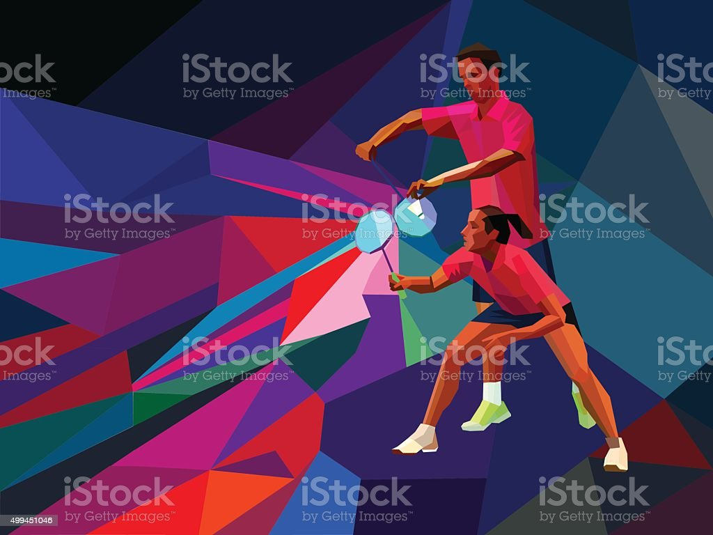 Badminton players mixed doubles team vector art illustration