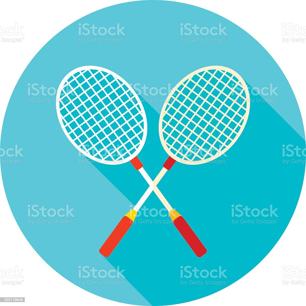 Badminton Racket flat icon with long shadow vector art illustration