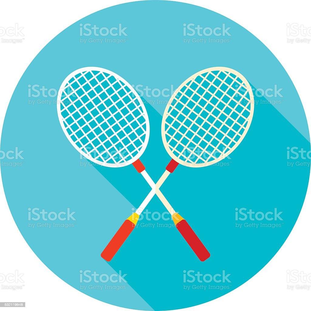 Badminton Racket flat icon with long shadow vector art illustration